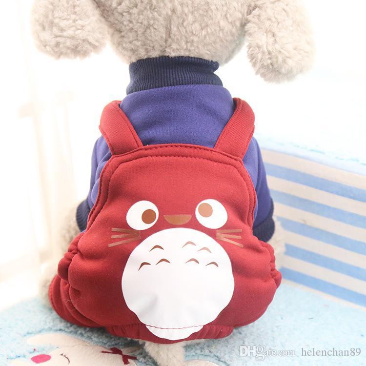 Cute Totoro Fleece Pet Cat Clothing Dog Costume Apparel Dog Jumpsuit Pants Puppy Winter Coat Hoodies