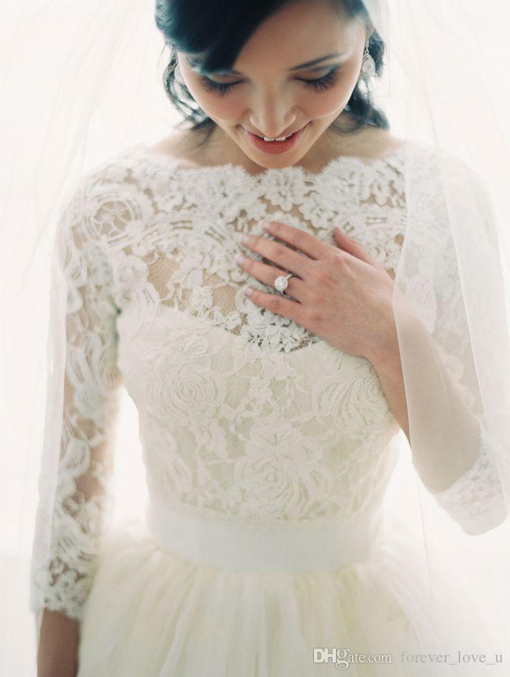 Magnifique manches 3/4 pure dentelle perle mariée mariage veste veste châle Bolero Wraps accessoires de mariage Vintage dentelle Appliques