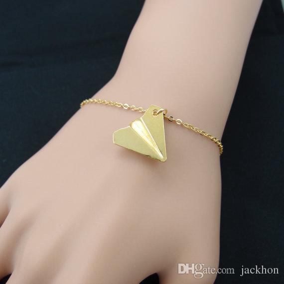 10 шт. - B014 мода золото серебро оригами самолет браслет бумага самолет браслеты крошечный самолет Самолет самолет браслет ювелирных изделий для женщин
