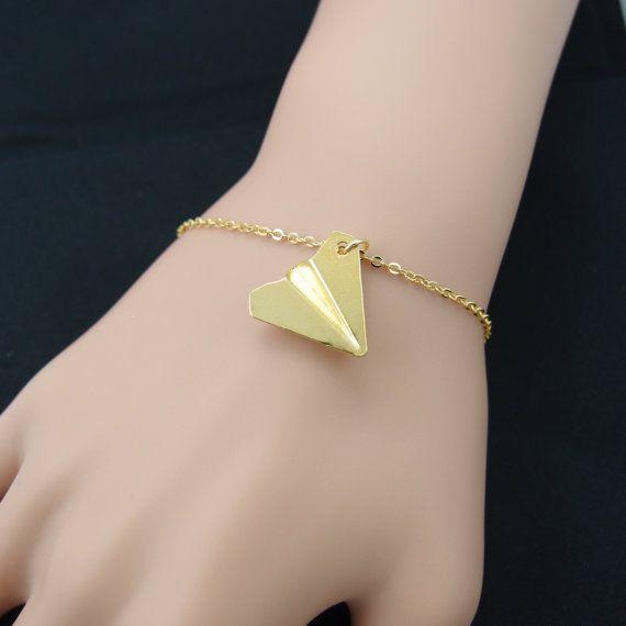 - B014 موضة الذهب والفضة اوريغامي الطائرة سوار ورقة طائرة أساور طائرة صغيرة طائرة سوار مجوهرات للنساء