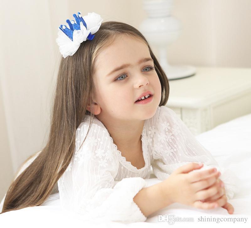 2017 New Fashion Kids Hair Clips Cute Exquisite Lace Bow Crown Rhinestone Girls Hairpins Children Kids Hair Accessories