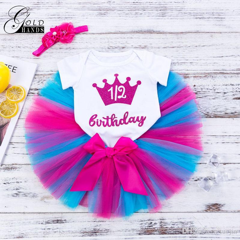 Neonate Carino Lettere Gonna Imposta gonna + Tuta + Fascia manica corta Tutu Dress Infant Girls Bow Knot Abiti da festa di compleanno