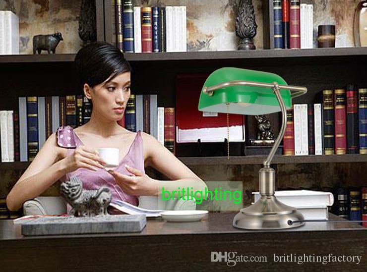 lampade da tavolo bronzo antico lampade da tavolo tradizionali paralume verde lampada da lettura luce verde Lampada da scrivania regolabile Lampada da tavolo in ottone