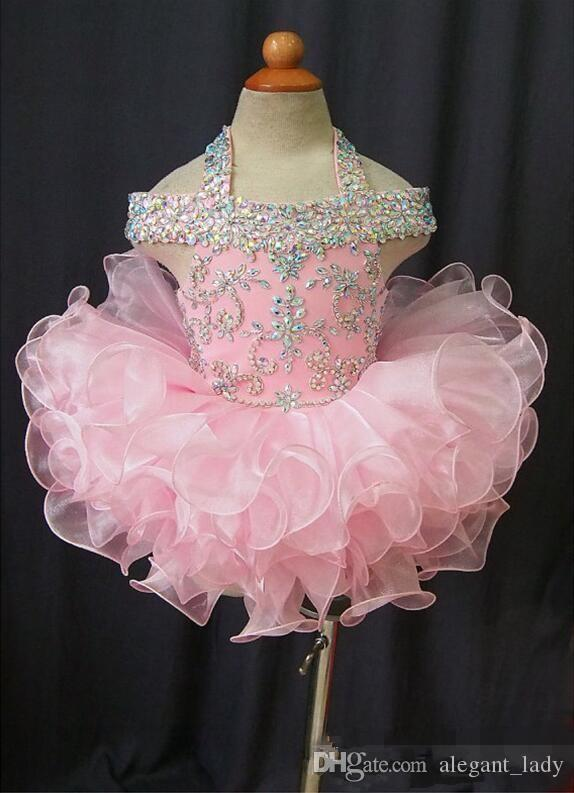 Toddler Pageant Dresses Pink Organza Cupcake Kids Prom Gowns Crystal Beaded Open Back With Bow Formal Little Girls Birthday Party Dress