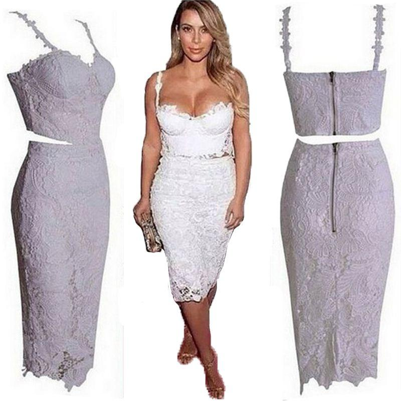 Celebrity Sexy Party Dresses 2016 Women Two Piece Outfits Black ...