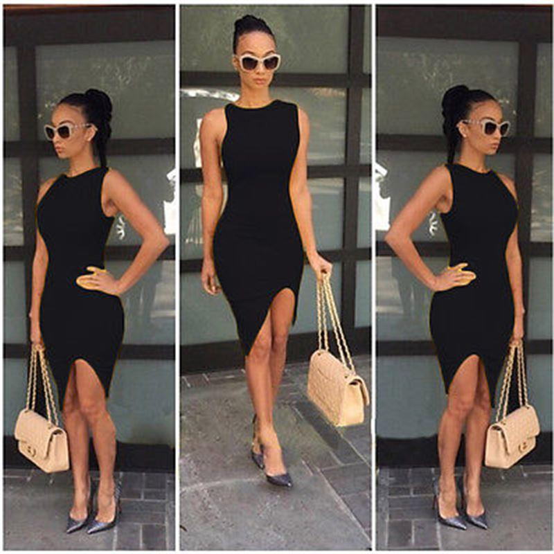 2016 Super Hot Sexy Women Summer Casual Sleeveless Evening Party Short Mini  Dress Fashion Vestidos Cocktail Party Dress Black Summer Dresses From  Bidalina 29034b477f0d
