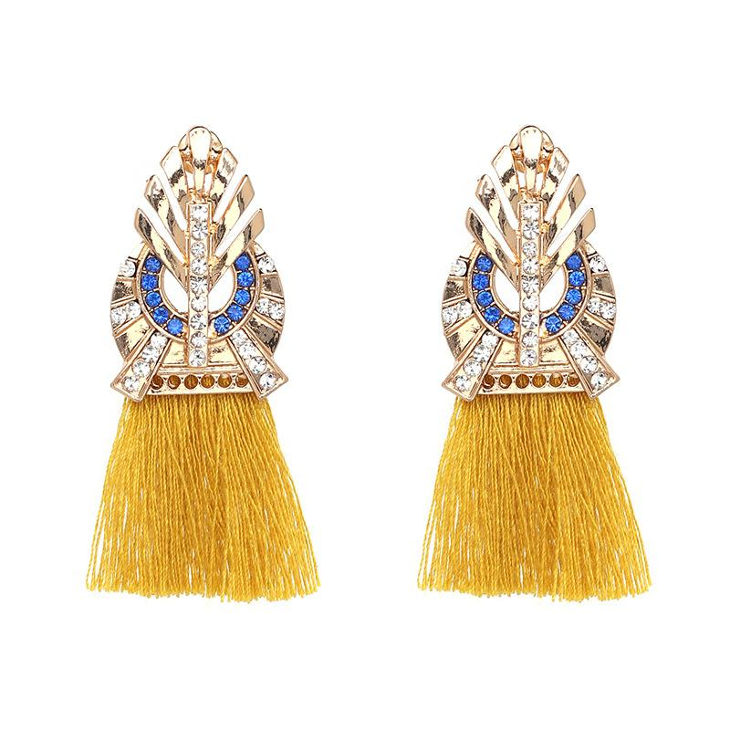 2018 Vintage Gold Earring Designs Without Stone Slong Tassel Latest