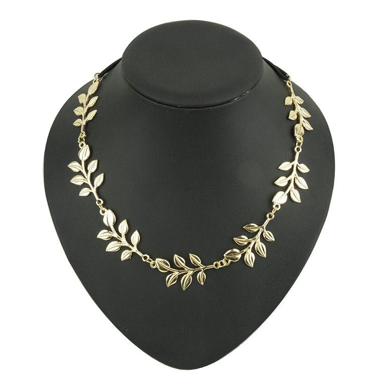 Moda estilo caliente banda para el cabello dama dorada Hoja de olivo diadema pieza de la cabeza cadena hojas banda elástica dorada banda para la cabeza