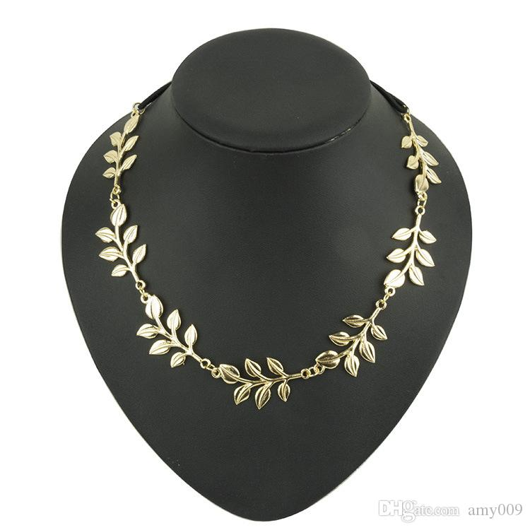 NEW retail fashion hot style hair band lady gold Olive leaf headband head piece chain leaves golden elastic band head band