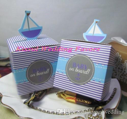 "Creative baby gift box of ""Baby on Board!"" Pop-Up Sailboat Favor Boxes For Candy box and paper boxes and baby party favor box"