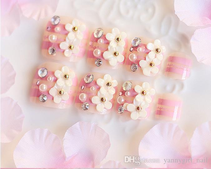 3d pink flower rhinestone bride toenails black and white fake toenails with big pearl for bridesmaids nail decals press on nails from