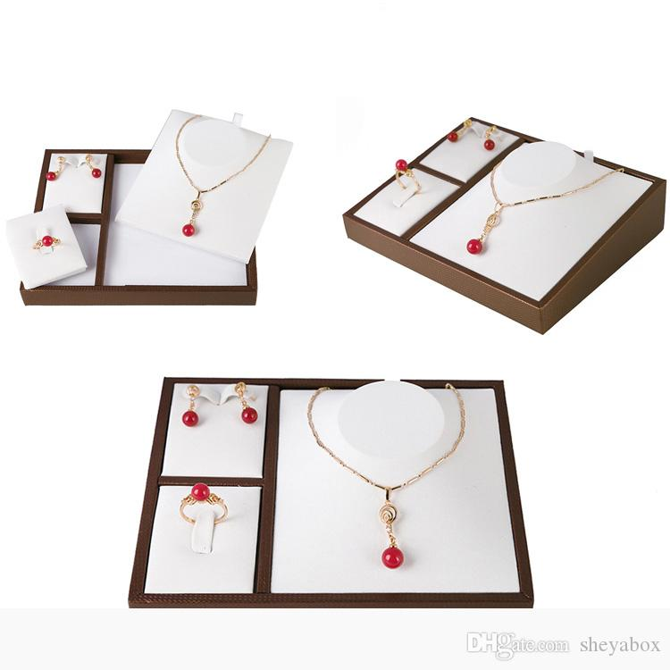 Showcase Jewelry Set Display Tray Faux Leather Coat Stand for Boutique Store Counter Showcase Jewellery Suite Necklace Earring Ring Holder