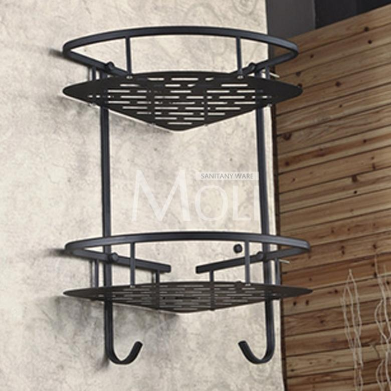 Attractive Oil Rubbed Bronze Corner Basket Wall Mounted Bathroom Shelf Dual Layer Shower  Shelves With Hooks Soap Holder Dish