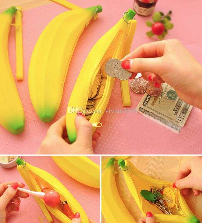Novelty Silicone Portable Banana Coin Pencil Case Purse Bag Wallet Pouch Keyring Fruit zero wallet ego zipper case gift