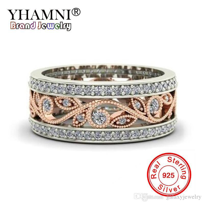 YHAMNI Women New Charm flowers Ring 925 Sterling Silver Wedding Jewelry Natural CZ Diamond Gold Color Rings Band Jewelry KYRA0100