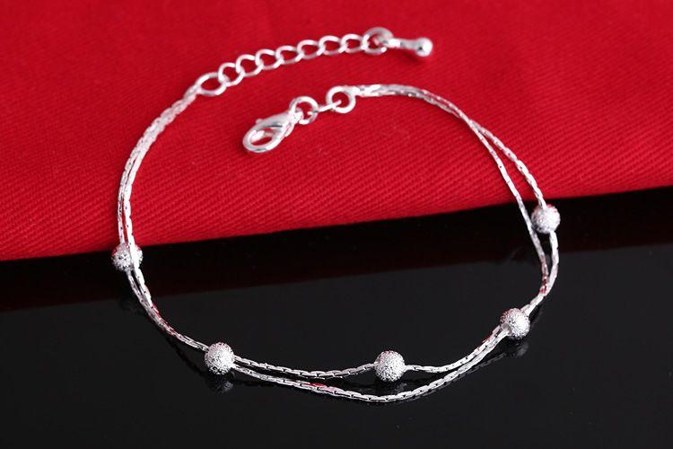 2017 heißer Verkauf Silber farbe Mode Armband Perlen Armbänder für Frauen Silber farbe Freundschaft Armbänder Edlen Schmuck