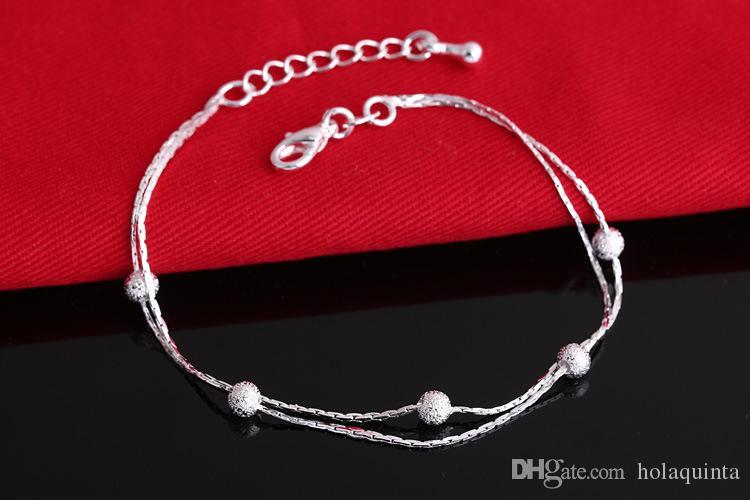 2017 venta caliente de plata de color pulseras brazalete de cuentas de moda para las mujeres de color de plata pulseras de la amistad joyería fina