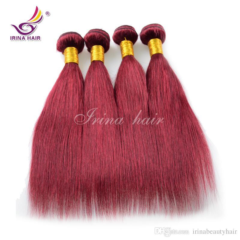 Borgoña vietnamita pelo virginal recto 3 unids 7A rojo 100% Remy extensión del pelo humano Remy 99J pelo teje Irina brasileña virginal