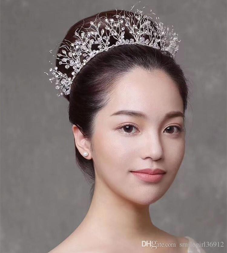 Lüks El Yapımı Düğün Takı Gelin Kristal Rhinestone Kraliçe Taç Tiara Kafa Balo Saç Aksesuarları Gümüş Toptan