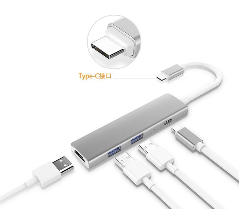 Adaptador Hub de 4 puertos USB tipo C de aluminio de alta velocidad Tipo-c a Adaptador Hub de 4 puertos múltiples para la nueva computadora portátil Macbook Tablet