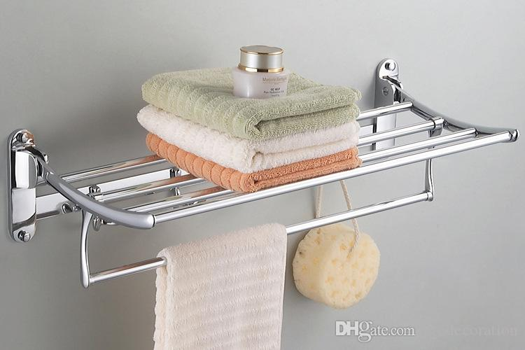 New Creative Stainless Steel Folding Towel Rack With Hooks Bathroom Bathroom Accessories Racks Top Quality Direct Factory Price
