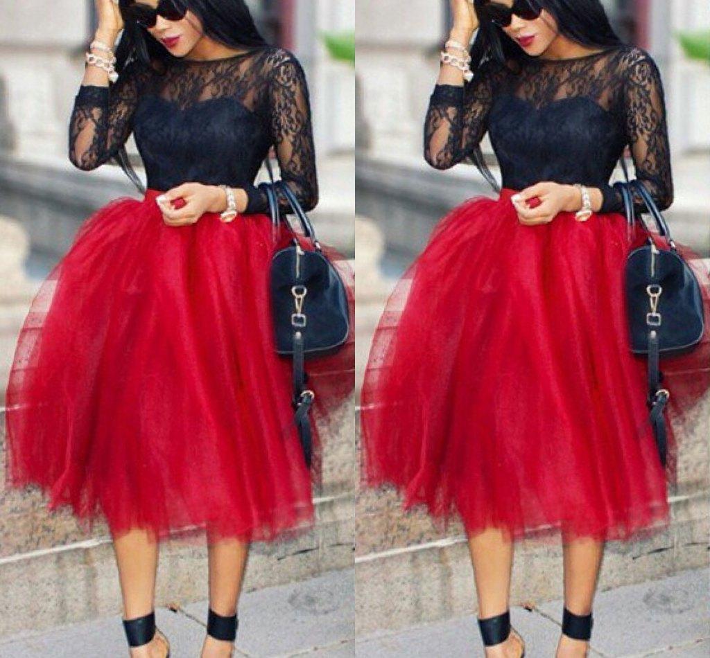 2017 Dark Red Short Skirts For Women Lovely Full Tutu Party ...