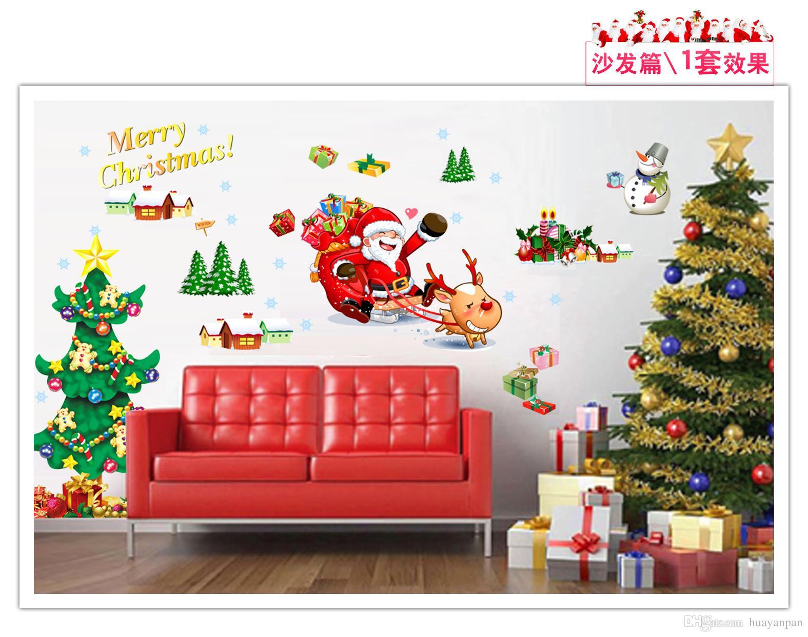 Hot Christmas Tree Wall Sticke The Santa Claus Wall Sticke - Christmas wall decals removable