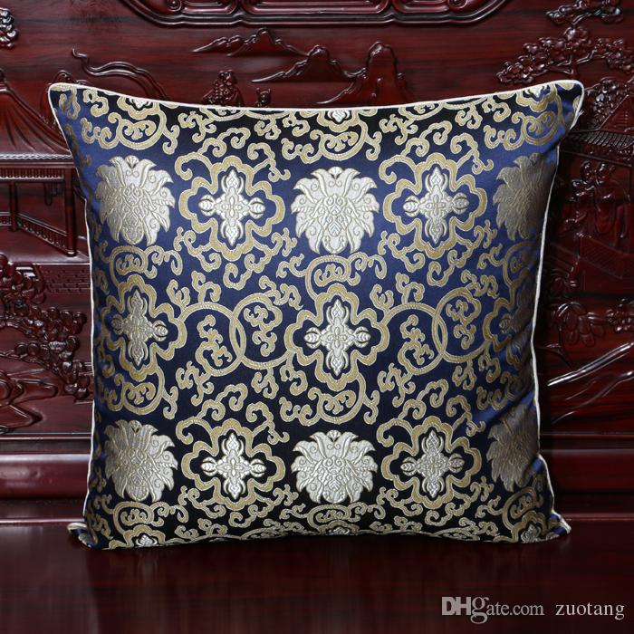 Smooth Lucky Pattern Cushion Covers for Couch Chairs High End Double Designs Silk Brocade Chinese style Zipper Waist Bedside Pillow Cases