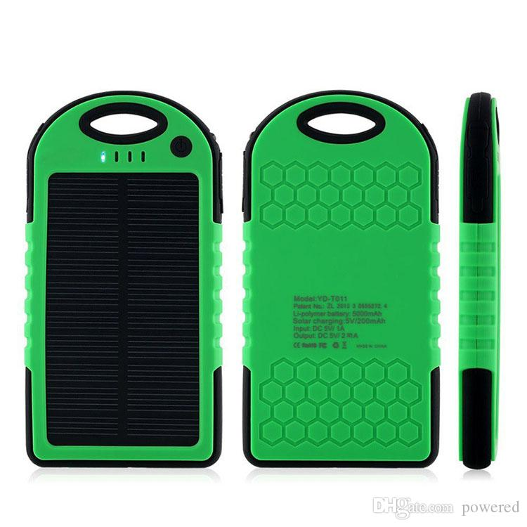 5000mAh 2 USB Port Solar Power Bank Charger External Backup Battery With Retail Box For iPhone iPad Samsung