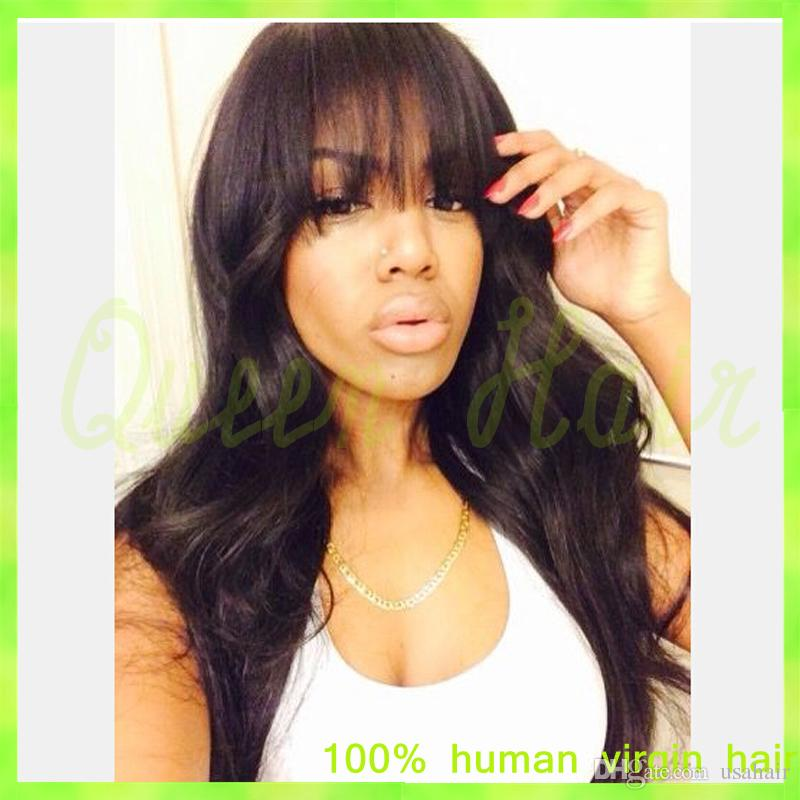 Virgin Brazilian Full Lace Wig/Lace Front Wig Straight Human Hair Wigs With Full Bangs Fringe For Black Woman Natural Hairline