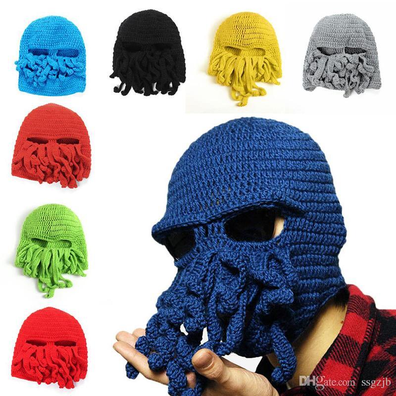 Winter Warm Novelty Cool Handmade Knitting Wool Funny Animal Cthulu Beard  Octopus Hats Caps Crochet Tentacle Beanies Men Women Unisex Gifts Beach Hats  ... 9a94b546cc6
