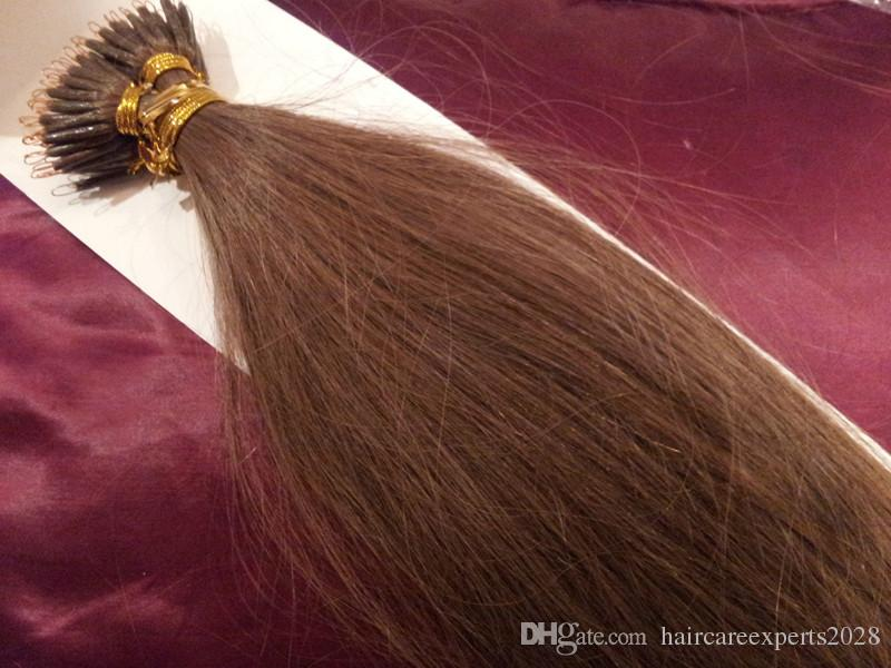 "DHL 100% Indian human queen products 5A 14""- 24"" 1g/s 100sstick tip nano ring hair extensions 8# light brown"