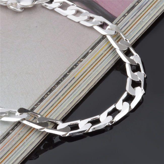 Biżuteria Moda 925 Sterling Posrebrzane Mężczyźni Figaro Bransoletka Łańcucha 6mm 20 cm Najwyższej Jakości Cena Fabryczna Darmowa Wysyłka