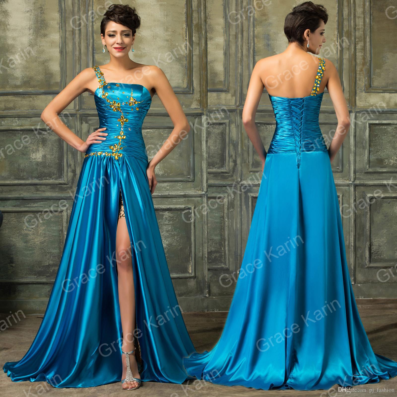 Fashion One Shoulder Crystal Prom Dresses Slit Front Long Silk ...