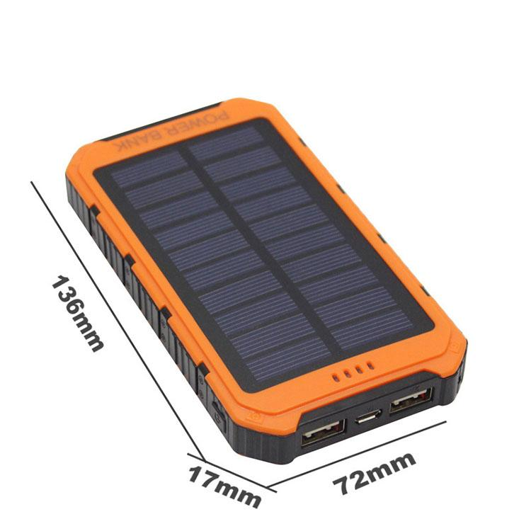 20000mAh solar Power Bank Ultra-thin Highlight LED Solar Power Banks 2A Output Cell Phone Portable Charger Solar Powerbank Free shippi