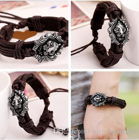 2016 latest version punk style 100% genuine leather bracelet handmade men woman The lion rope adjustable bracelet 10pcs/lot