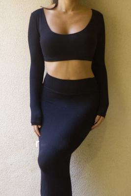 패션 참신 Bodycon 높은 허리 복장 세트 T6259 섹시한 여자 2 조각 긴 소매 짧은 작물 상단 및 미디 연필 스커트 의류 세트