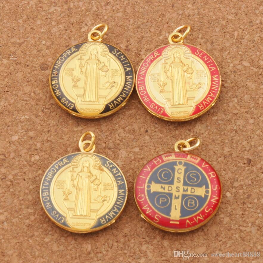 Colors Enamel Saint Charm Benedict Medal Cross Crucifix Smqlivb Gold Plated  Charm Beads 30pcs/lot 23 2x27mm Pendants T1669