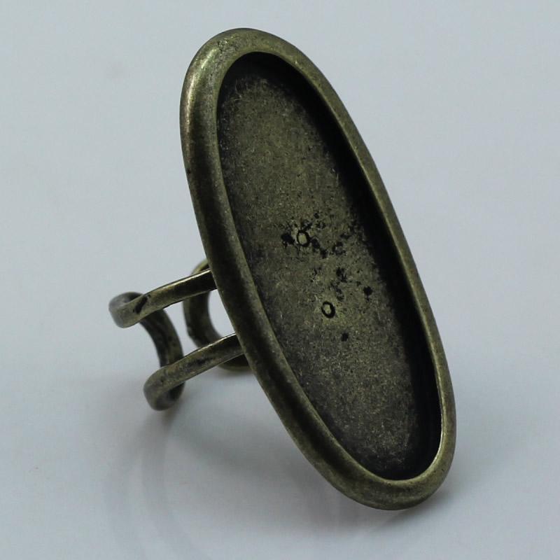Beadsnice Large lunette bague cadre base de la bague pour la fabrication de bijoux réglable bronze antique forme ovale sans nickel sans plomb ID 1875