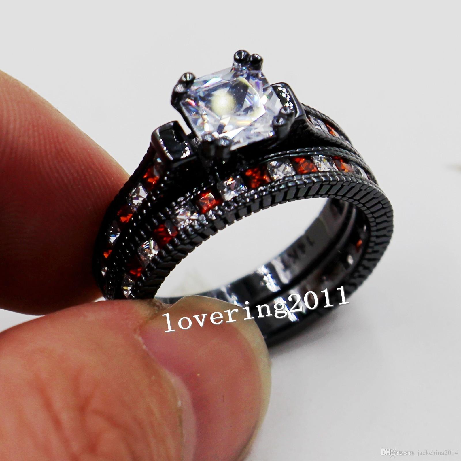 Size 5-11 Retro Fashion jewelry 14kt black gold filled Red Garnet Multi stone CZ Simulated Diamond women Wedding Engagement Ring set gift