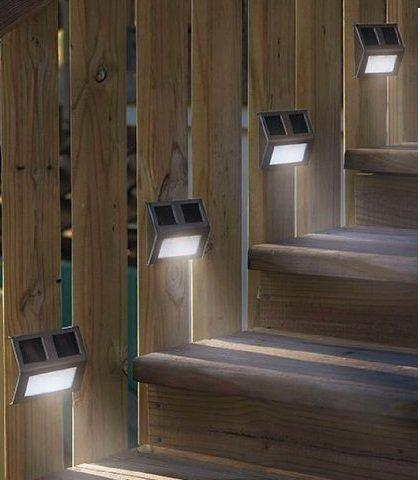 Energy Saving Solar Powered LED Wedge Lights Perfect For Lighting Outdoor  Staircase, Fence, Patio, And Pathways Urn On Automatically At Dusk On/off  Switch