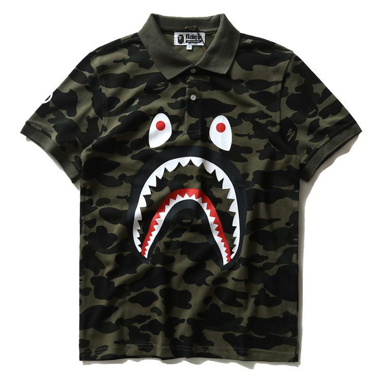 46e3a077 New Mens Tide Camouflage Shark Mouth Mens Casual T-shirt Lapel Loose ...