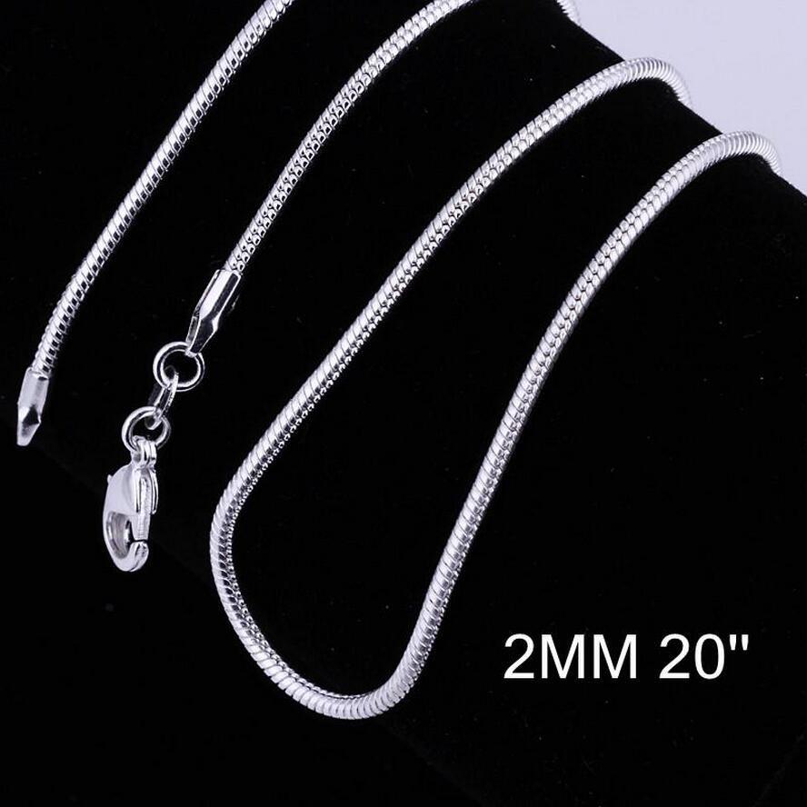 Большие Акции! Стерлингового серебра 925 гладкая змея цепи ожерелье Омаров застежки цепи ювелирные изделия 2 мм 16-24 дюйма размер смешивания очарование ожерелье ювелирные изделия