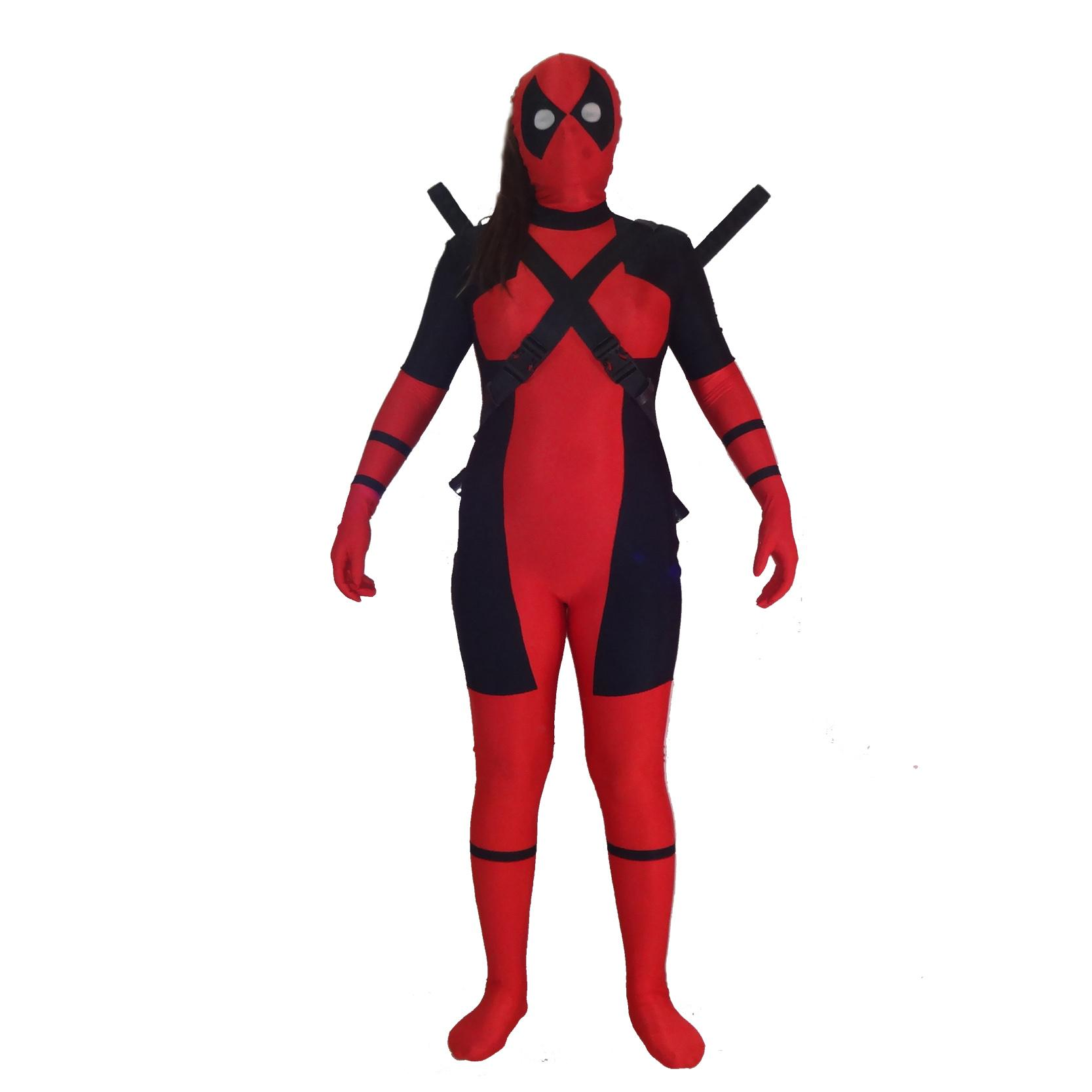 Free shipping Lady Deadpool Costume Red full body spandex girl female Heros Deadpool Zentai Suit Halloween Party Cosplay Zentai Suit