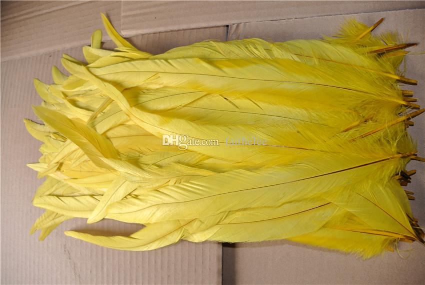 12-14inch bright yellow COQUE rooster TAIL Feather Loose for party decor costumes