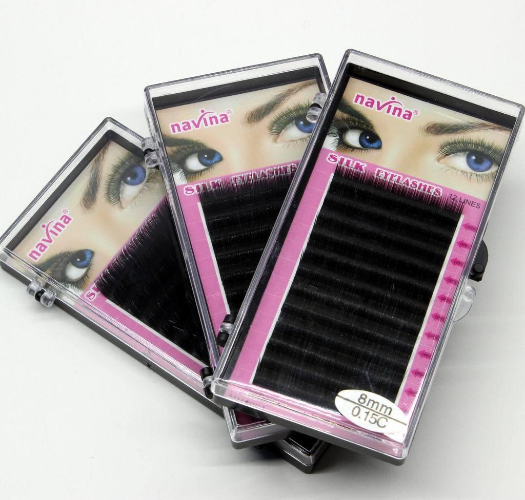 Maquillaje profesional 8 mm 10 mm 12 mm 14 mm MINK Extensión de pestañas individuales maquiagem Hecho a mano Artificial Falsas pestañas falsas C-curl Pestañas 12 líneas / conjunto