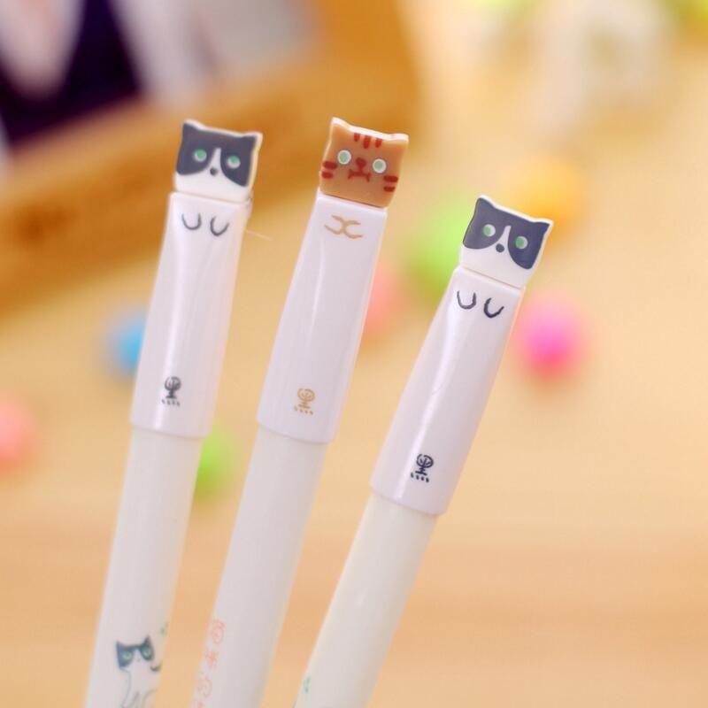 0.38mm Korean Cute Kawaii Cat Japanese Gel Pens Blue Black Wrting Office School Supplies Stationery Material Escolar Kawaii