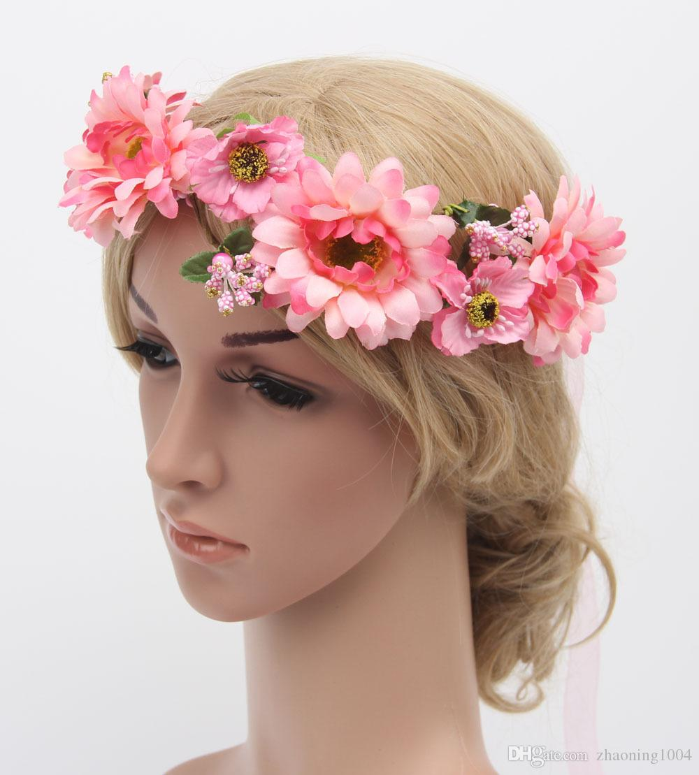 Flower Crown Headband Hair Wreath Wedding Flower Tiaras Garland