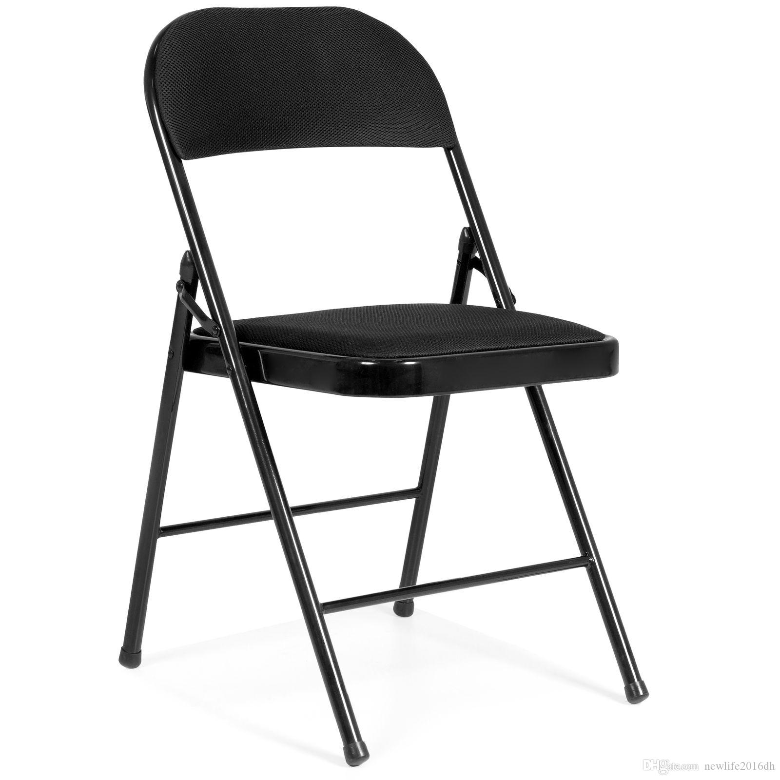Best Set Of 4 Steel Black Fabric Folding Chairs Home Office ...