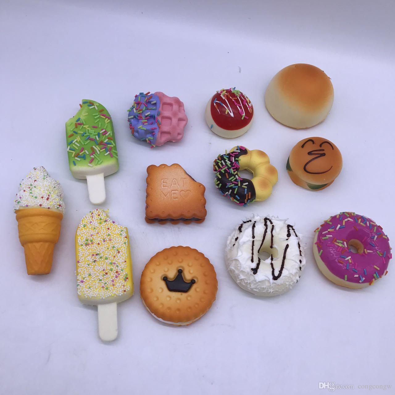 a set PU Squishy Cute Lovely Cartoon Pendant Kawaii Bread Squishy Simulation Bread Food Squishy Super Kid Toy Decompression Toys